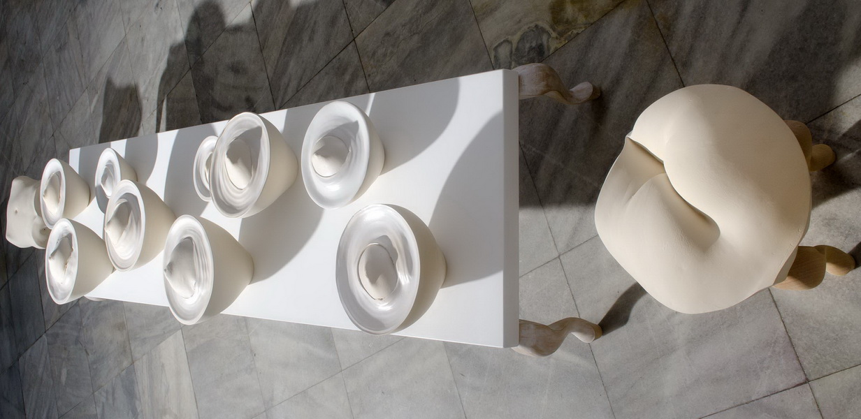 2 Milk, ceramic instalalation, Museum of Applied Arts Belgrade, Heritage House Belgrade, Serbia