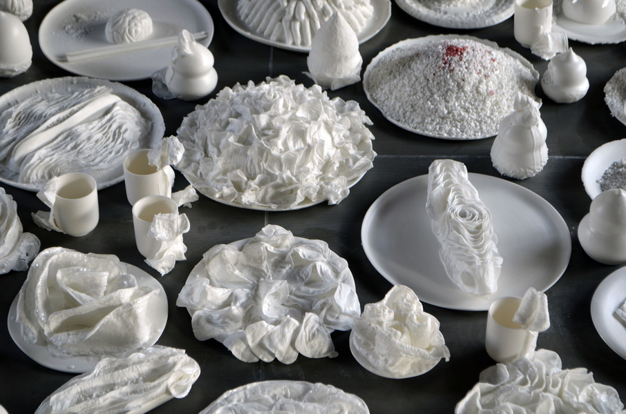 2.Table of curiosities. Series of porcelain art installations made in residency at Dehua Fudong
