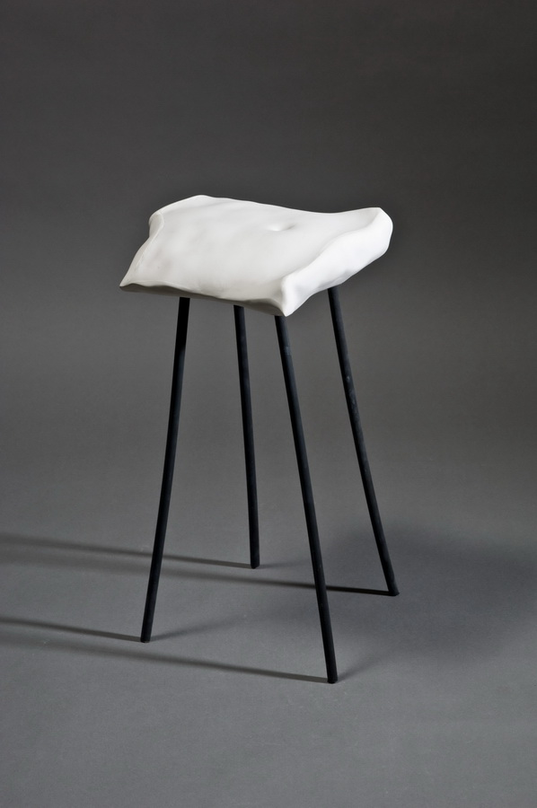 4.Chair, Interior Accesoires, 2011 casted porcelain, applied ceramic sculpture, Keramikmuseum Westerwald,