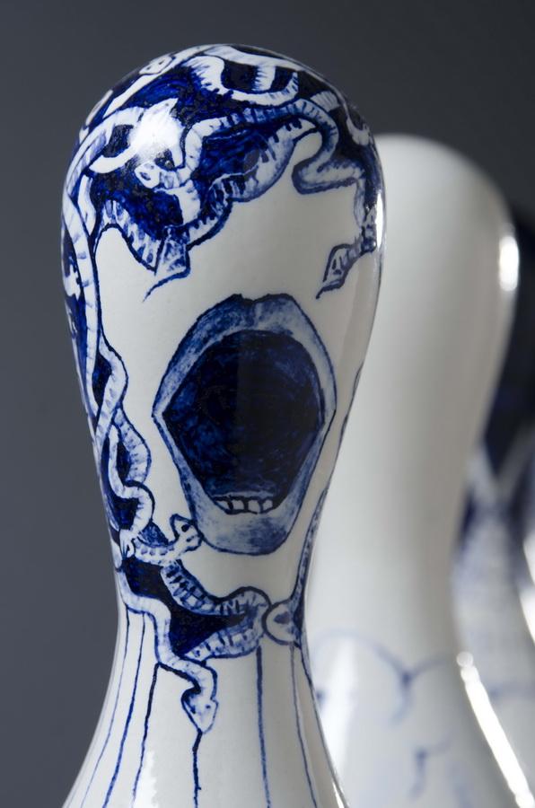 5. Angelus Novus, porcelain installation, blue and white, contemporary porcelain figurine, ceramic dolls