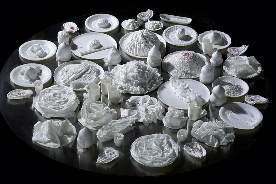 """5.1aTable of Immortality 20184. Series of porcelain art installations made in residency at Dehua Fudong Porcelain Factory.2018 """"Blanc de Chine"""""""