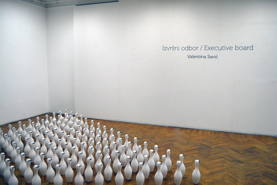 5.Executive board 2014, plaster molds,porcelain, exhibition, making of,installation of 144 porcelain pins