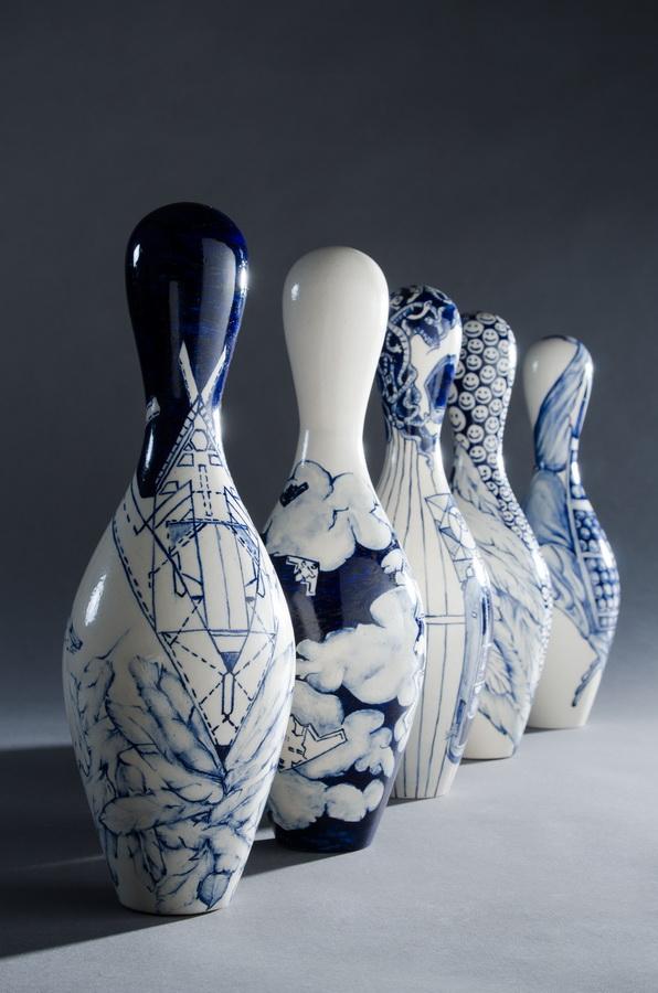 6. Angelus Novus, porcelain installation, blue and white, contemporary porcelain figurine, ceramic dolls
