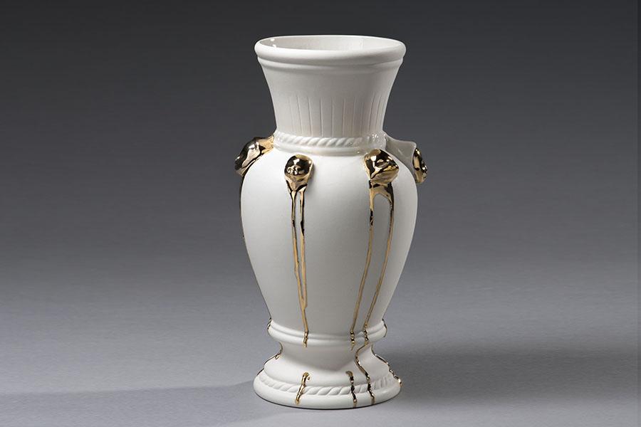 7..Existential vase,slip casted porcelain, gilded ceramist studio, Valentinna Savic